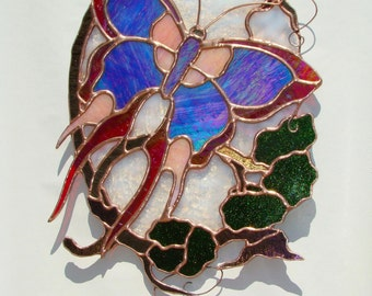 Stained Glass Art Nouveau Butterfly Panel with Lampwork Pendant