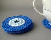 Evil Eye Coasters - set of 4 - hostess gift,christmas, stocking stuffer
