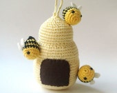 Crocheted beehive mobile