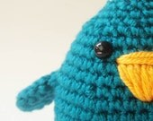 amigurumi cute bird,crochet bird toy,children toy,christmas gift for kids,stuffed bird,teal bird
