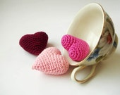 Crocheted pink valentine hearts set of 3