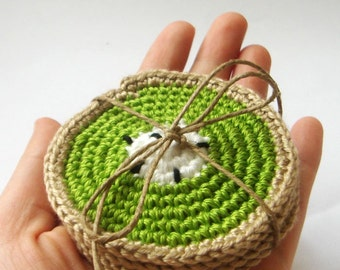 crocheted kiwi coasters (set of 4) housewares,kitchen,spring decoration