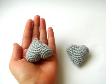 crochet hearts, (set of 2) fathers day gift ,wedding favors ,wedding cake toppers, mothers day gifts, customizable  gifts, heart plush,grey