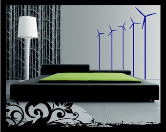 Set of 5 - Wind Turbines - Vinyl Decal