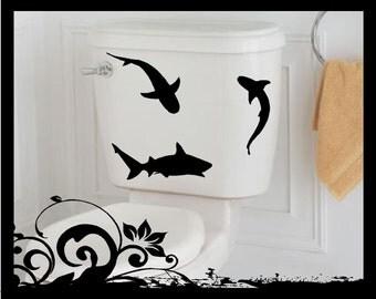 Simple Shark Silhouettes - Vinyl Decal