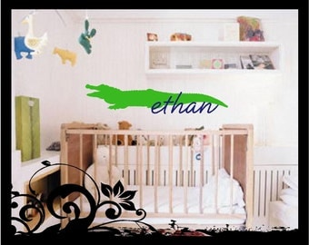 Personalized Name with Alligator - Vinyl Decal