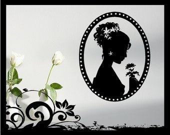 Woman Cameo Silhouette - Vinyl Decal