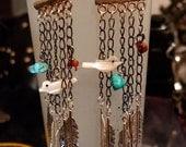 Bird on a Chain Turquoise Drop feather Earrings Dangle beadwork