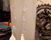 "5"" Super Long Feather Bone Glass Beaded Dangle Earrings"