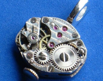 Steampunk necklace pendant Vintage oval Jewel inscribed Shiny silver pendant metal Watch movement Sterling silver plated bail,