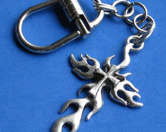 Mens Cross KEYCHAIN Belt loop chain or Purse jewelry Man Secure Spring Tension Pull Pin Key chain SECURE yet Easy on or off 3D flaming cross