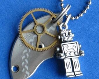 Robot necklace Ballchain Vintage etched Pocket Watch barrel bridge Brass gear 3-D Robot So Cool, 1.5mm ballbead chain