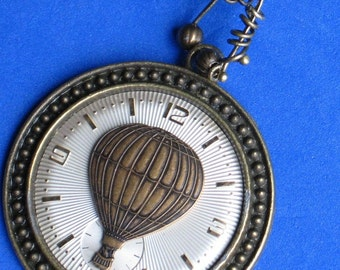 Steampunk pendant Necklace Vintage textured watch dial Hot air balloon stamping Heart clasp Sundial watch face Antiqued brass metal