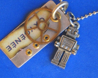 FOUR WAY ROBOT Necklace Industrial edge Riveted pendant  or Vintage key, Watch gear Reversible Oxygenee metal pendant