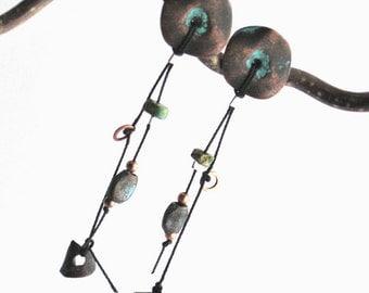 Stud Dangle earrings Copper Dipped metal Disks post earrings, Euro length ELITE EXCLUSIVE