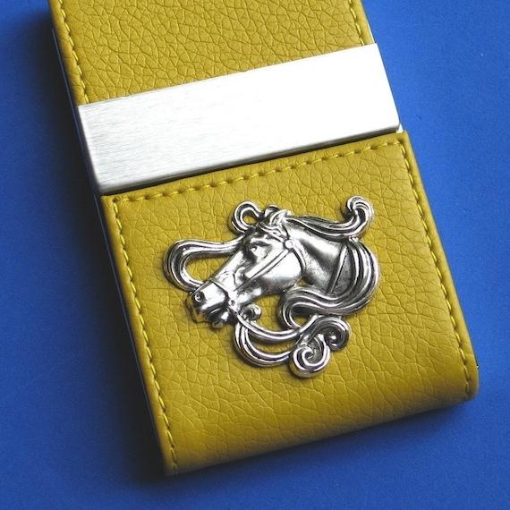 Business Card Case holder Leather ette Metal Horse medallion Magnetic Center Dual Flap Closure Impressive gift Exclusive