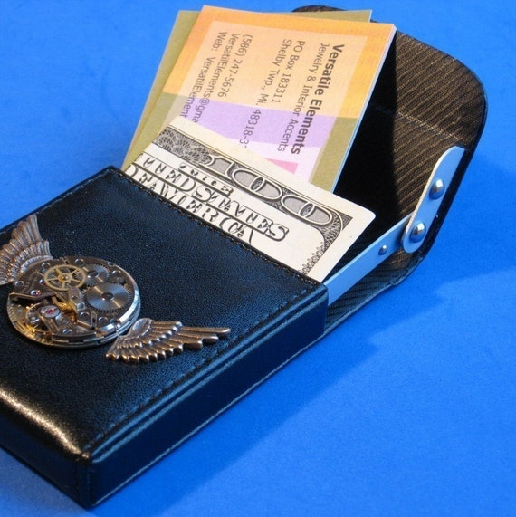 NEW SIZE Card Case Holder with Hinged Lifting Mechanism entry Vintage jewel inscribed Watch movement Flanking wings Business wallet