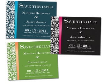 Personalized Damask Save The Date Cards - 50 count