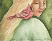 ACEO - Girl with Cardinal, Original  Kelton Art
