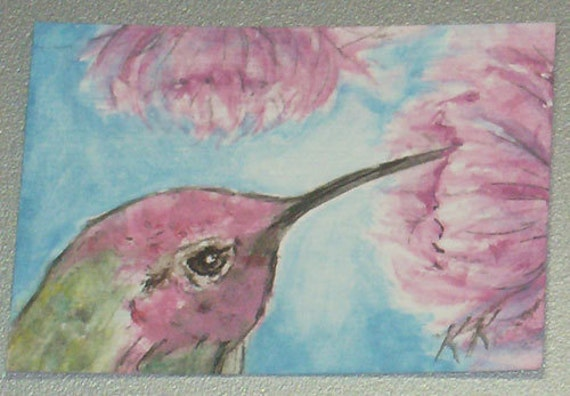 ACEO Anna's Hummingbird with Pink Flowers, ORIGINAL Watercolor Painting