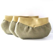 Bridesmaid Clutches // Set of 3 // Pale Mustard Yellow Vegan Leather - Rustic Burlap // Made to Order