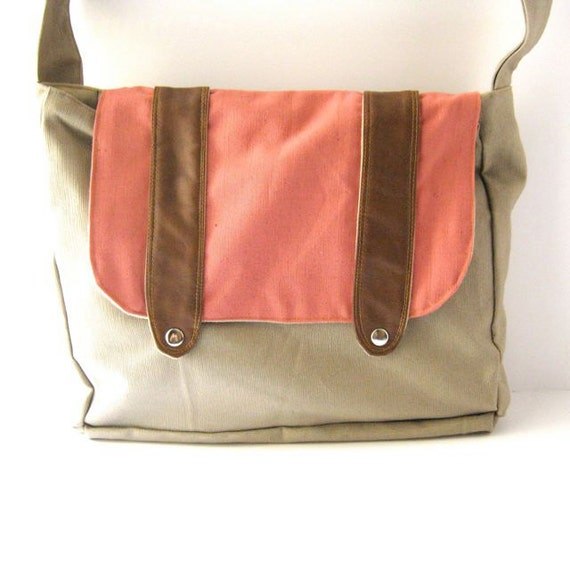 Coral Linen and Tan Canvas Utility Messenger Bag
