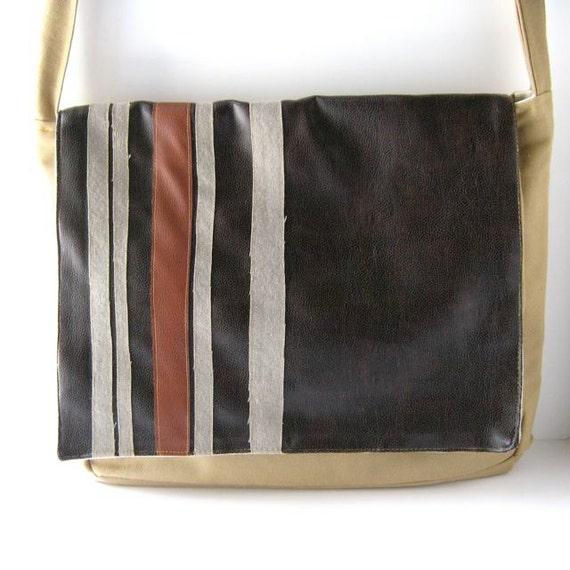 MANIC Messenger Bag //  Black-Brown Vegan Leather - Khaki Canvas - Gray-Red Stripes // Ready to Ship