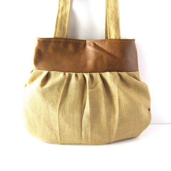 Yoke Tote // Brown Vegan Leather and Camel Brown Linen // Ready to Ship
