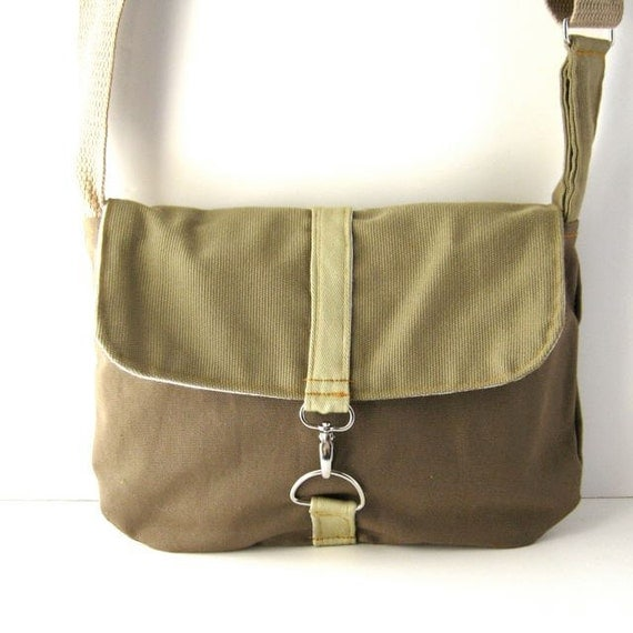 Olive Khaki and Earthy Brown Canvas Satchel - Made to Order