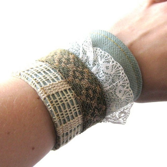 Fabric Collage Cuff // Aqua Tweed Canvas - Vintage Lace - Green Twill - Vegan Leather - Striped Lace // Ready to Ship