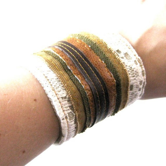 Fabric Collage Cuff // Vegan Leather Stripes - Vintage Lace - Tweed // Ready to Ship