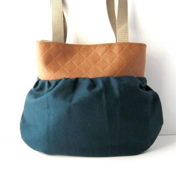 Yoke Tote // Brown Quilited Vegan Leather - Teal Wool // Ready to Ship