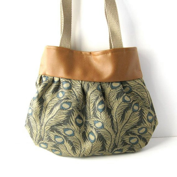 Brown Vegan Leather and Fancy Peacock Canvas Yoke Tote - Made to Order