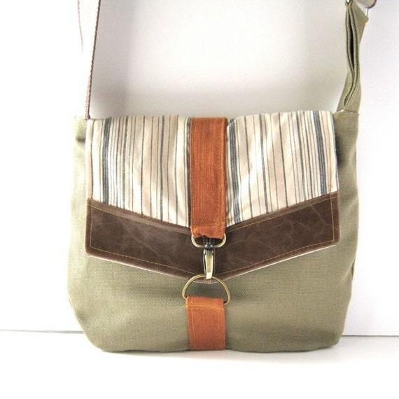 Satchel // Olive Green Canvas - Navy-Cream Striped Cotton - Brown Vegan Leather - Orange Canvas // Made to Order