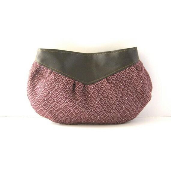 SALE // Clutch // Brown Vegan Leather - Pink-Purple Geometric Woven Canvas