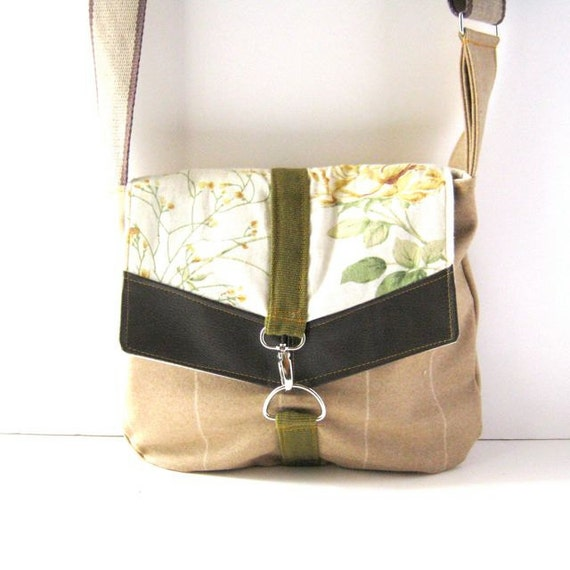 Satchel // Tan Wool - Vintage Rose Floral // Ready to Ship