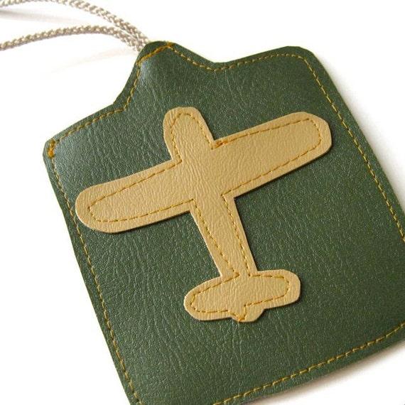 Luggage Tag // Airplane // Green Vegan Leather - Mustard Yellow Vegan Leather // Ready to Ship
