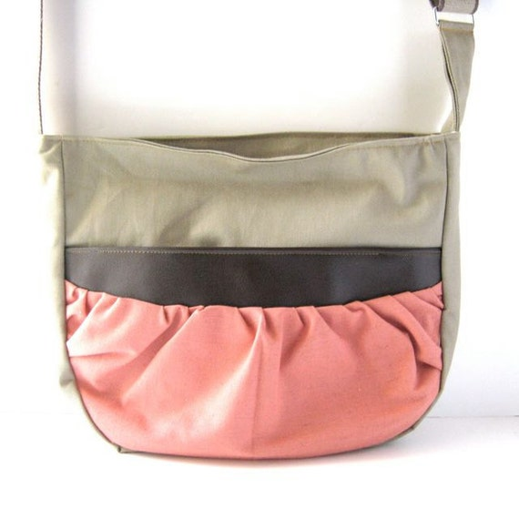 Bunch Bag // Khaki Canvas - Coral Linen // Made to Order