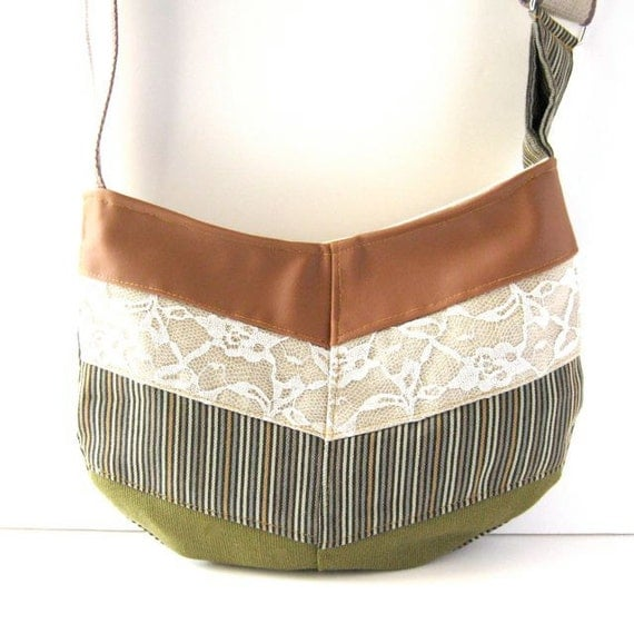 Hobo // Rust Vegan Leather - Lace - Pastel Striped Canvas - Avocado Green Canvas