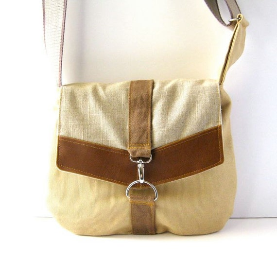 Satchel // Lemon Yellow Canvas - Natural Linen - Brown Vegan Leather // Made to Order