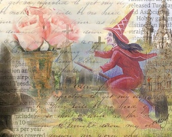 ZNE ATC ACEO - Red Witch- Digital Collage Art by ruby