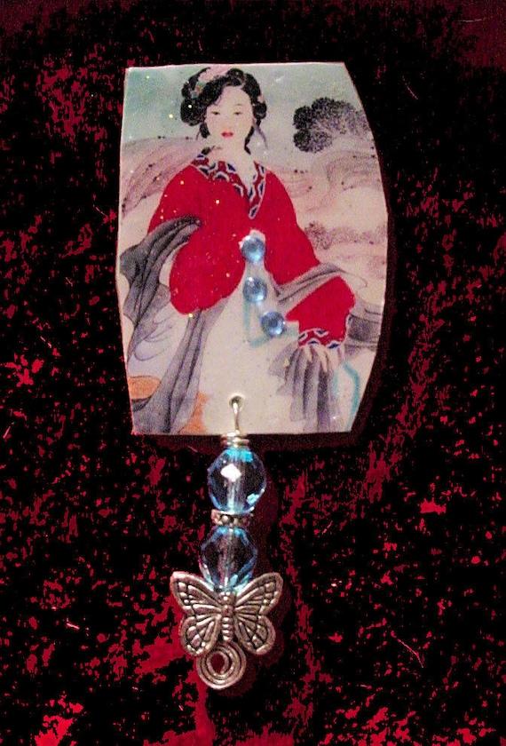 Altered Art Jewelry -Oriental Beauty - Art by ruby