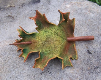 Autumn Oak Leaf Leather  Hair Cup