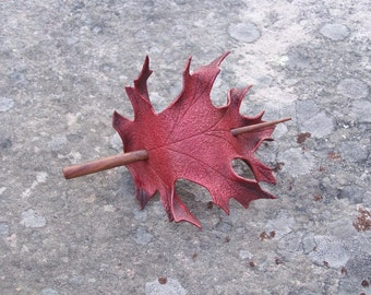 Red Oak Leaf Leather Hair Cup