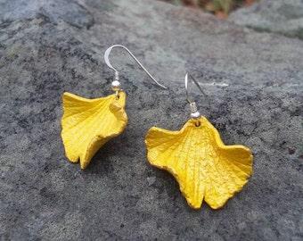 Yellow Leather Ginkgo Leaf Earrings
