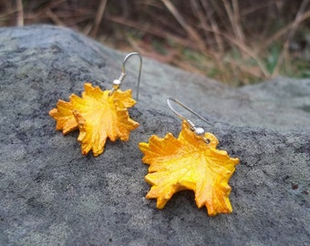 Yellow Leather Maple Leaf Earrings