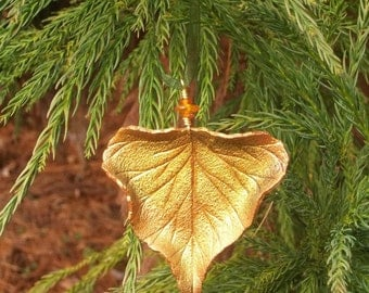 Sculpted Leather Cottonwood Leaf Ornament