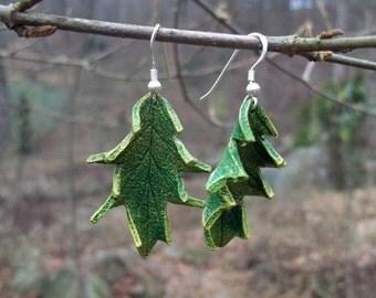 Green Leather Oak Leaf Earrings