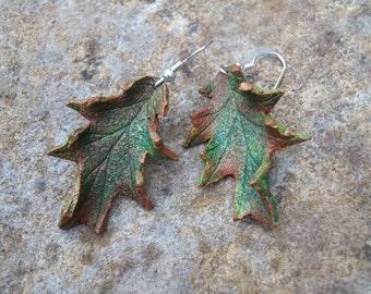 Leather Oak Leaf Autumn Earrings