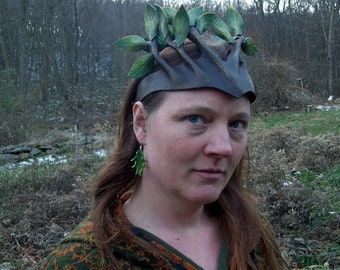 Leather Dryad Crown in Green